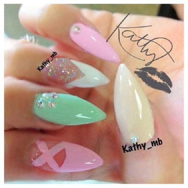 nail polish pastel pink nail polish white nail polish mint green nail polish sparkly nail polish