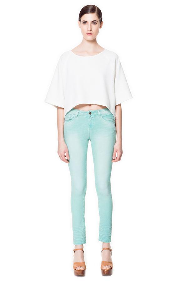 Denim Couleurs Pantalons Femme Zara France