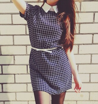 dress plaid checkered white collar trendy cute office outfits workwear dress mini dress going out