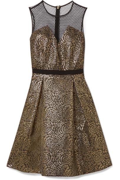 Draper James dress tulle dress pleated metallic jacquard black