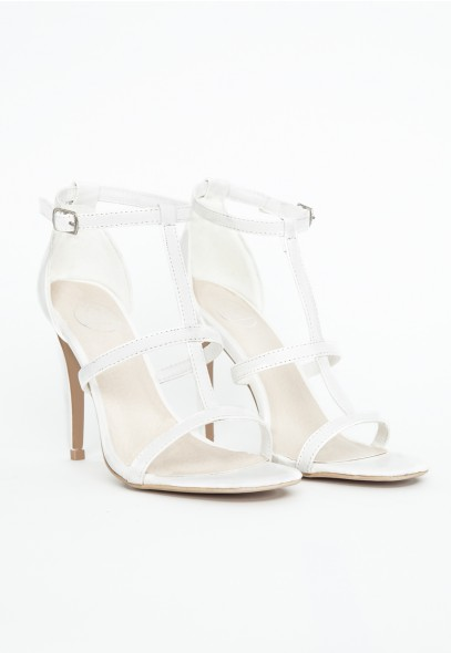 Gemma Leather Caged Heel Sandals In White - Footwear - Sandals - Missguided