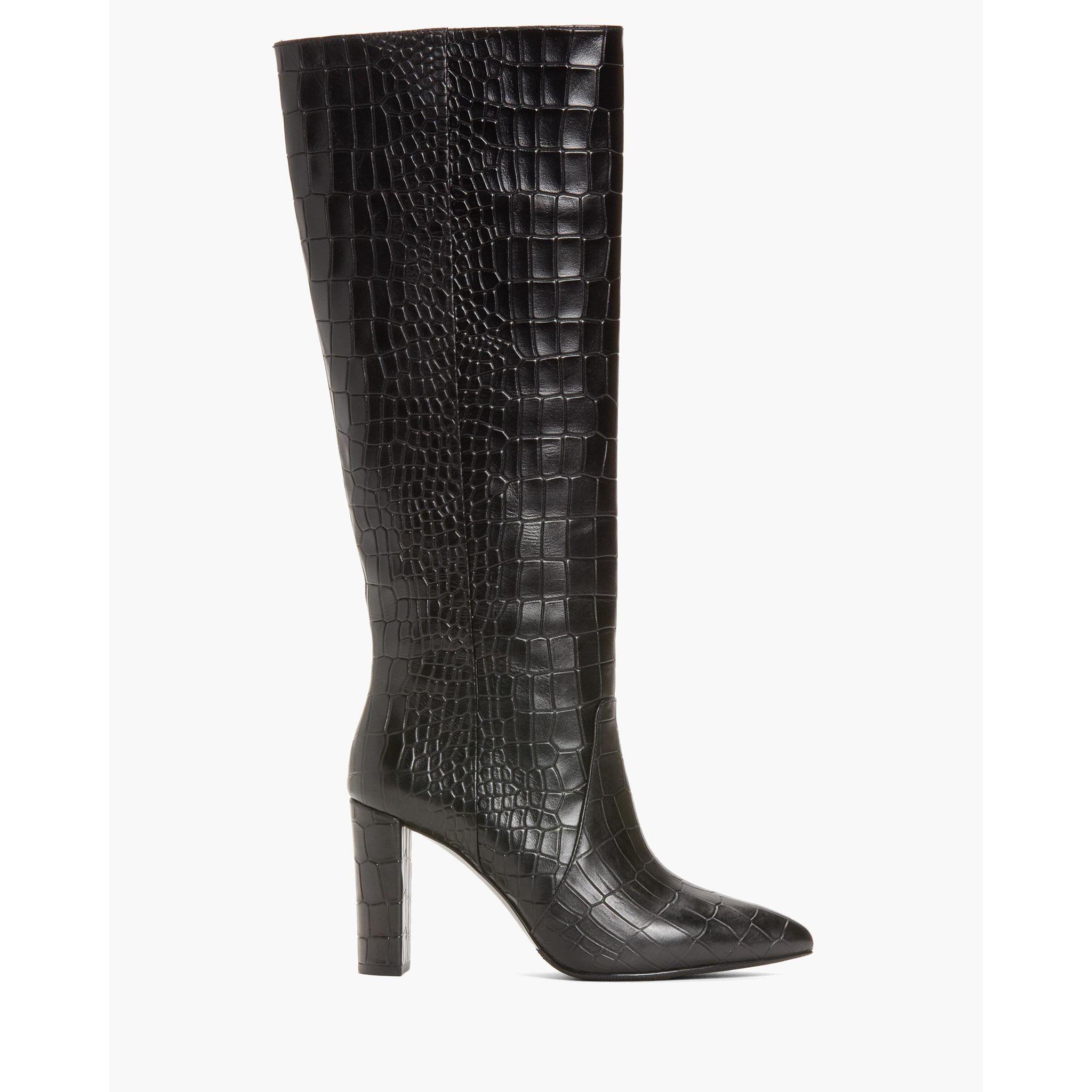 PAIGE Women's Carmen Boot - Black Embossed Croc Leather | High
