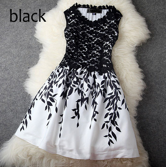 dress bqueen girl black lace chic fashion flowers water-soluble stitching party
