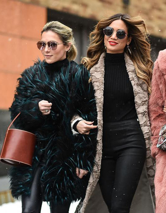 coat nyfw 2017 fashion week 2017 fashion week streetstyle fur coat fur collar coat bag brown bag pants black pants leather pants black leather pants grey coat sunglasses aviator sunglasses black sweater sweater
