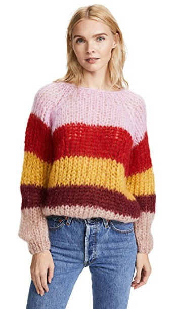 ONE by sweater striped sweater rose