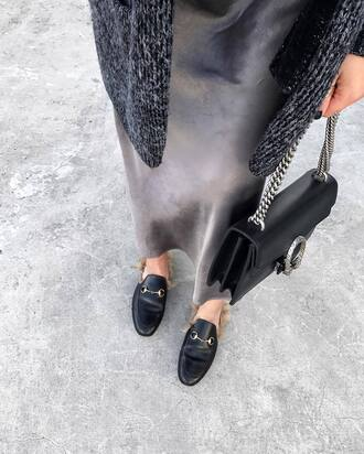 bag tumblr gucci gucci shoes gucci princetown loafers black bag gucci bag dionysus dress grey dress slip dress midi dress minimalist gucci loafers designer oversized cardigan fall outfits