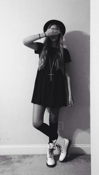 dress cute black little black dress clothes boots vintage grunge cross necklace