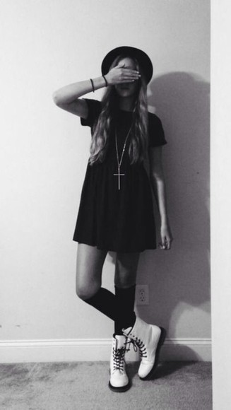 vintage cross necklace cute dress black little black dress clothes boots grunge cute dress