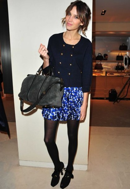 alexa chung sweater jacket navy bag