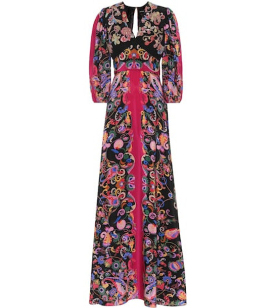 Etro Sequined paisley silk dress in black