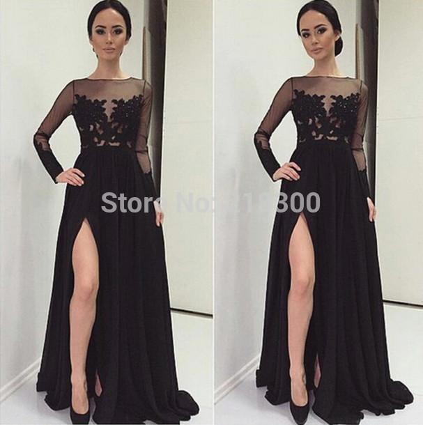 Black lace dresses long