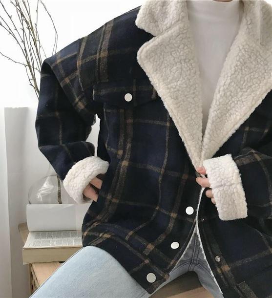 coat girly plaid fur fur coat fur jacket