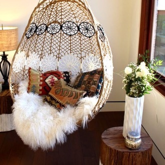 boho home decor home accessory bohemian hammock bedroom floral flowers fur pillow pattern boho decor feathers hippie fluffy holiday gift dress white strings lifestyle sheepskin throw