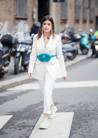 le fashion image blogger jacket blazer white blazer sneakers white pants belt bag gucci bag spring dress