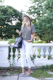 suburban faux-pas,blogger,hat,shoes,jewels,bag,stripes,striped top,straw hat,white pants,white jeans,sandals,nude heels,bell sleeves,bell sleeve top,necklace,phillip lim,black bag,sandal heels,ankle strap heels,high heel sandals,nude sandals