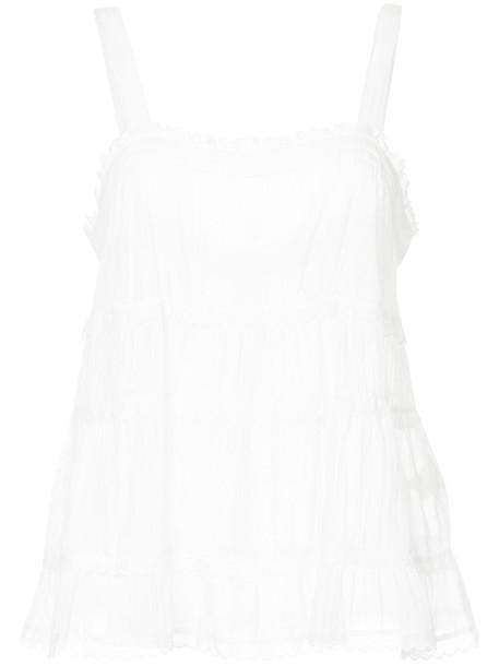 Lee Mathews - Carly Sheer Muslin Cami top - women - Cotton - 3, White, Cotton