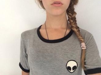 t-shirt alien alien shirt grey t-shirt aliens grunge