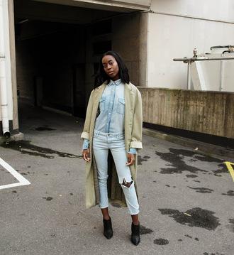 sylvie mus blogger coat jeans light blue jeans duster coat denim shirt