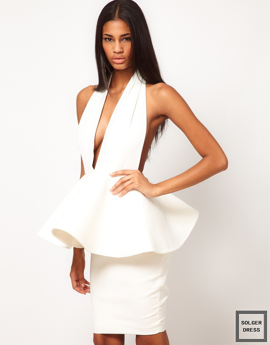 2014 New Arrival  In Stock Cheap Luxury Sexy Halter Ruffles Peplum Backless White Bandage Dress Evening Dress H765-in Apparel & Accessories on Aliexpress.com