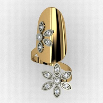 jewels nail rings flower style cubic zirconia inlaid nail ring in yellow gold plated 925 sterling silver evolees.com nails