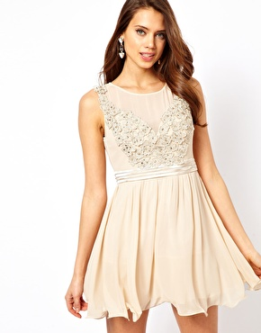 Little Mistress | Little Mistress Applique Mesh Prom Dress at ASOS