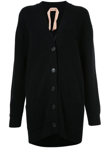 No21 cardigan cardigan long women mohair black wool sweater