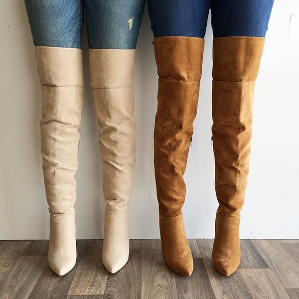 Chestnut Faux Suede Pointed Toe Thigh High Boots @ Cicihot Boots ...