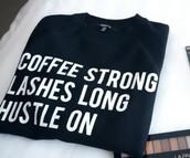 shirt,coffee,mascara,lashes,coffee graphic tee,t-shirt