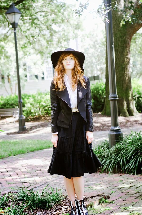 esther fromthesticks blogger jacket belt felt hat shirt skirt shoes hat