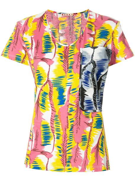 MARNI t-shirt shirt t-shirt women cotton print purple pink top