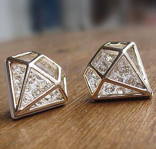 Korean fashion shiny diamond design shape zircon crystal ear stud earrings