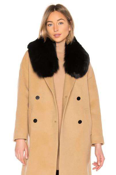Charlotte Simone Princess Fox Fur Collar Scarf in black
