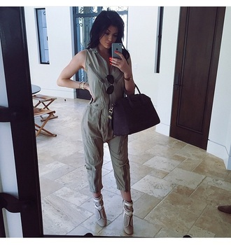 jumpsuit kylie jenner outfit high heels bag purse accessories sunglasses handbag shoes green jumpsuit fashion beige kylie jenner dress