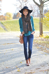 loso fancy,blogger,blouse,scarf,leopard print,satchel bag,felt hat