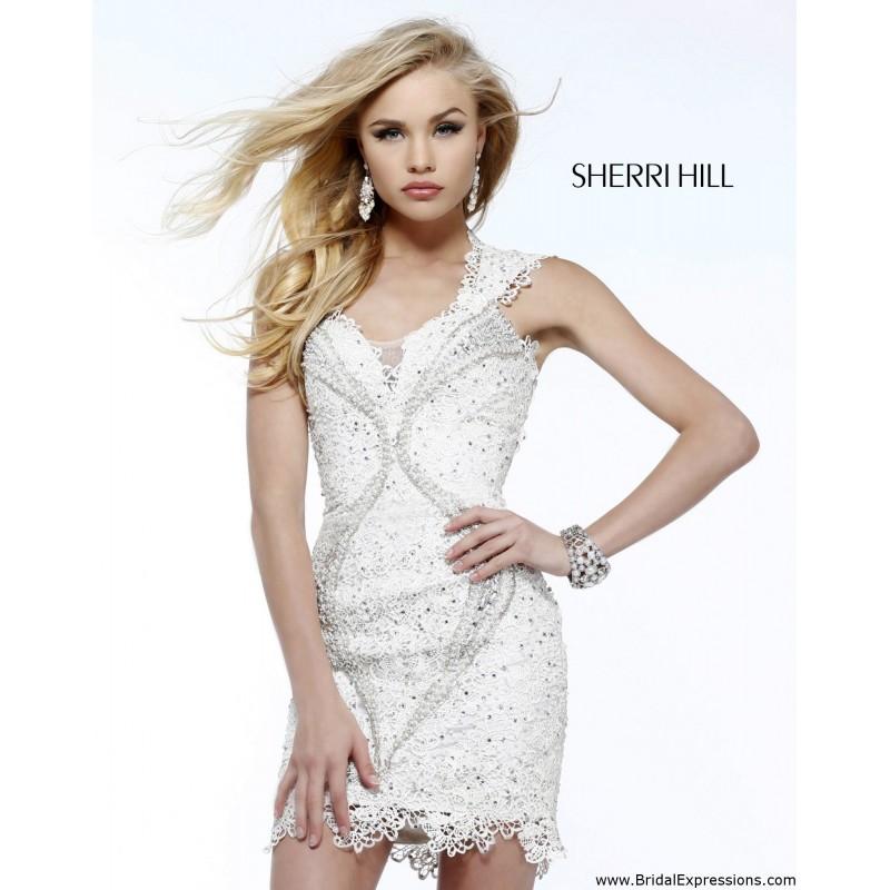Sherri hill 9803 short open back cocktail dress crazy for Sherri hill short wedding dress