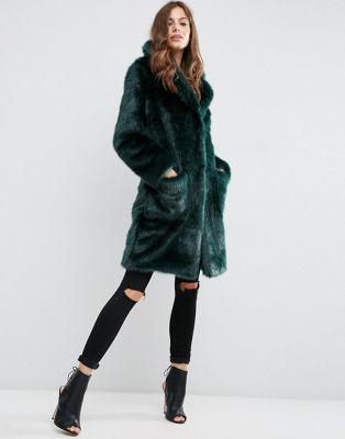 ASOS Coat in Plush Faux Fur at asos.com