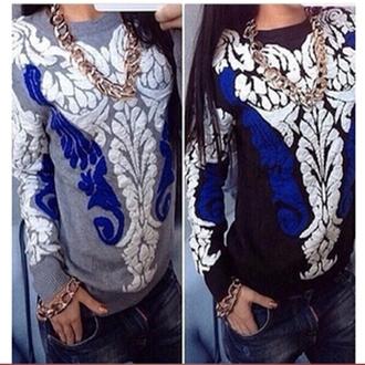 sweater pullover women sweater winter sweater blue grey retro blue and white striped jacquard long sleeves casual warm sweater knitted sweater