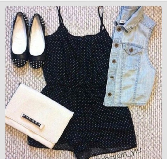 denim jacket romper ballet flats
