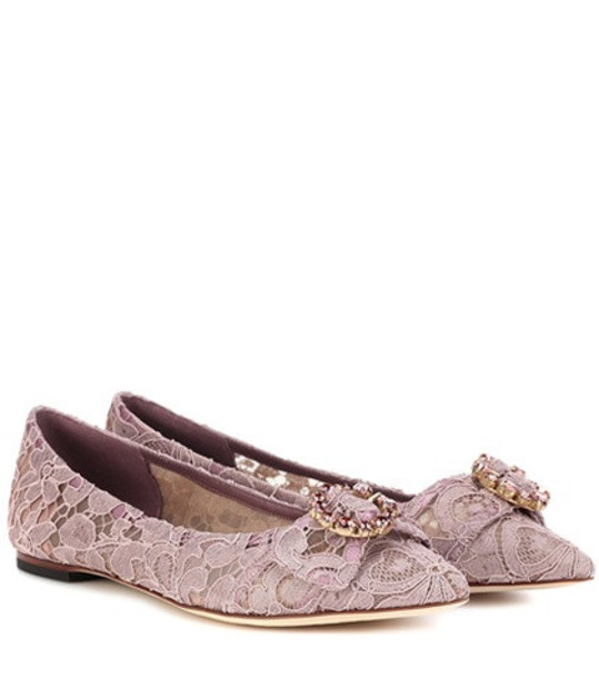 Dolce & Gabbana Embellished lace ballerinas in purple