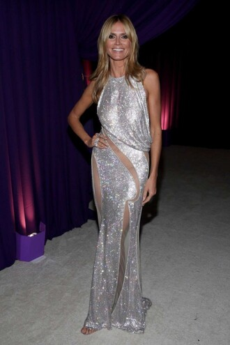dress oscars 2015 sequin dress sequins heidi klum silver gown