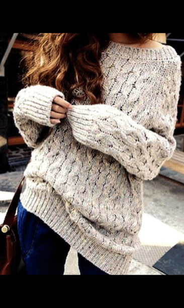 sweater clothes jumper winter outfits knitwear knitted sweater oversized sweater beige fall sweater grey sweater knitwear warm sweater cozy sweater cable knit brown white knit wool cold cute long fall outfits fall outfits fall outfits autumn/winter tumblr off the shoulder casual grey comfy cozy