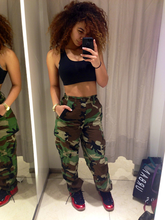 pants camouflage tumblr crystal westbrooks high waisted shirt shorts cargo pants camo pants high waisted pants camoflauge pants jeans blackbra sassy summertimefine summer outfits army pants khaki pants shoes highwaist camo pants black top sneakers black green exact high waisted jeans these exact cargo pants.