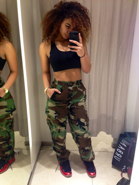 pants camouflage crystal westbrooks high waisted shirt shorts vue boutique camouflage pant jeans shoes camo pants high waisted pants black top sneakers black camo pants crop tops sassy leggings woodland camo cargo pants