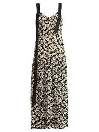 dress back open floral print black