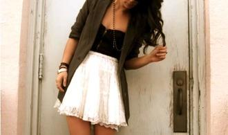 skirt white red bordeaux top blazer