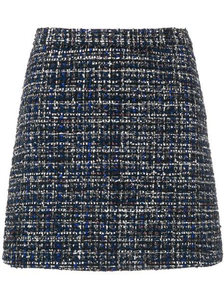 Alice+Olivia skirt mini skirt mini embroidered women spandex cotton blue