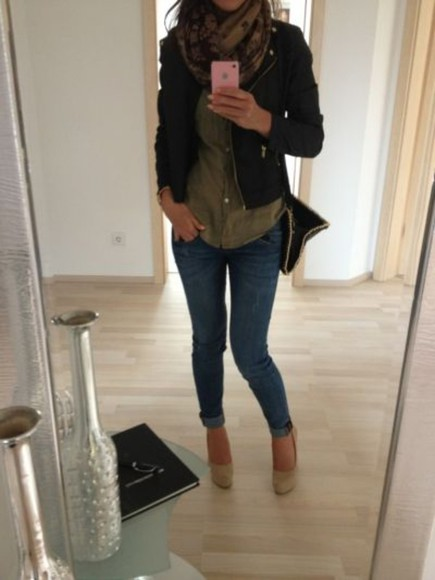 jacket green blouse leather black perfecto