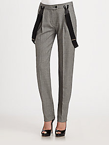 Moschino Cheap And Chic - Check Wool-Blend Suspender Straight-Leg Pants - Saks Fifth Avenue Mobile