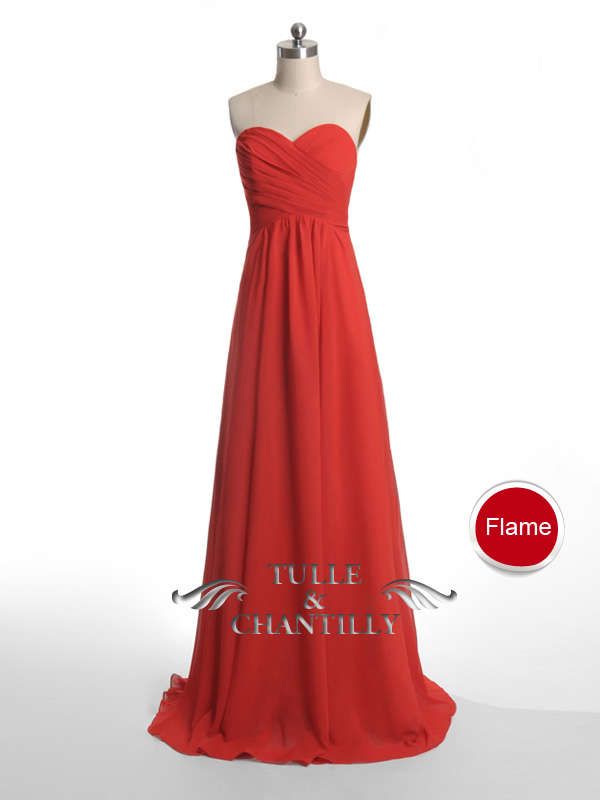 Long Fame Red Sweetheart Strapless Bridesmaid Dress [TBQP237] - $138.00 : Custom Made Wedding, Prom, Evening Dresses Online | Tulle & Chantilly