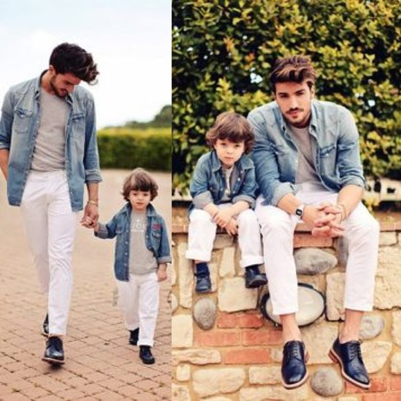 menswear guys Daddy & me Daddy and son Daddy and son fashion Toddler Kids fashion kids fashion denim shirt white jeans